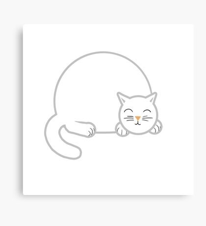 Sleeping Chubby Kitty - White Canvas Print