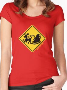 Warning Santa Claus Ahead! Women's Fitted Scoop T-Shirt
