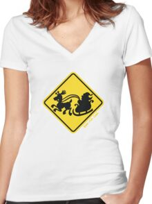 Warning Santa Claus Ahead! Women's Fitted V-Neck T-Shirt