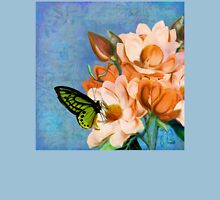 Periwinkle, peach magnolias, green butterfly vintage elements Womens Fitted T-Shirt