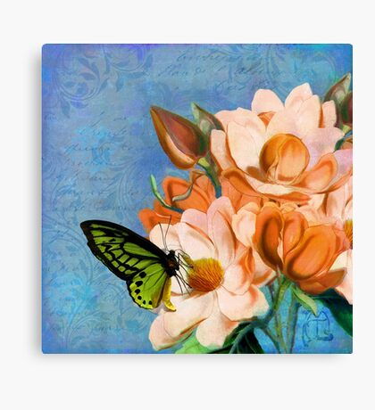 Periwinkle, peach magnolias, green butterfly vintage elements Canvas Print