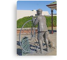 "Penny Farthing ""Time Traveller"" Statue Canvas Print"