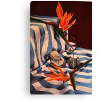 Orange Flowers and Blue Cloth Canvas Print