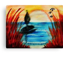Peeking thru the Reeds at the sunset, watercolor Canvas Print