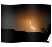 Sepia bolt of lightning, Drakensberg, South Africa Poster