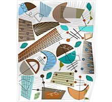 Mid-Century Modern Abstract Earth Tones Poster