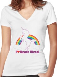 I LOVE DEATH METAL Women's Fitted V-Neck T-Shirt