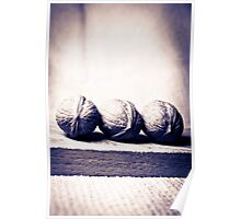 Three wallnut on a tea towel in black and white Poster