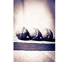 Three wallnut on a tea towel in black and white Photographic Print