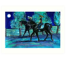 Riding Horses on a Full Moon Night Art Print