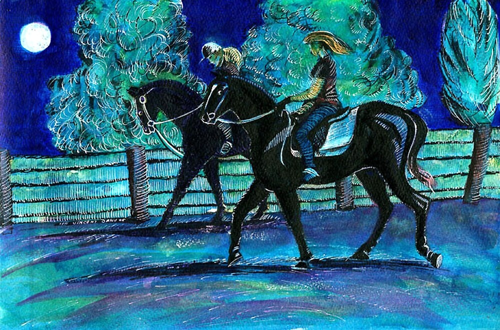 Riding Horses on a Full Moon Night by ivDAnu
