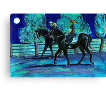 Riding Horses on a Full Moon Night Canvas Print