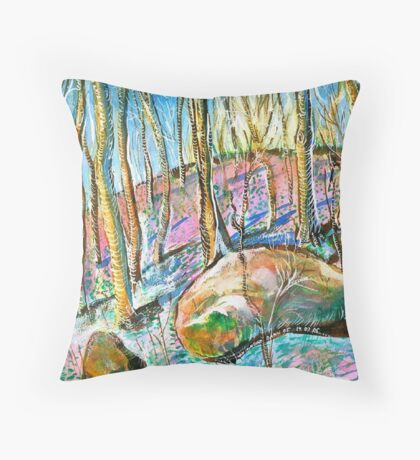 Quebec forest in autumn Throw Pillow