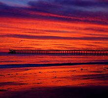 Fiery Sunset at Haskell's Beach by Cathy L. Gregg