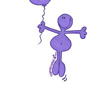 One Balloon Each...Purple Doodle Dude by Sammy Nuttall