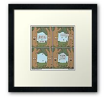 This comic is printed on 100% recycled virtual paper. Save the trees, hug a whale. Framed Print