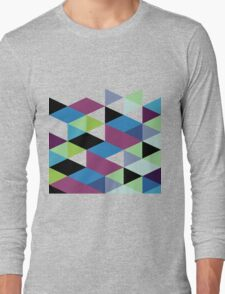 Abstract Modern Geometric Colorful Triangles Long Sleeve T-Shirt