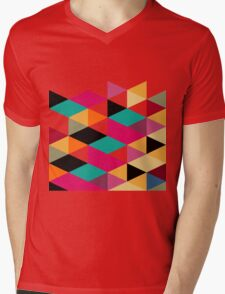 Bright Color Modern Geometric Triangles Pattern Mens V-Neck T-Shirt