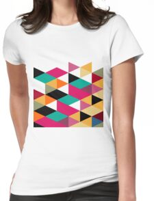 Bright Color Modern Geometric Triangles Pattern Womens Fitted T-Shirt