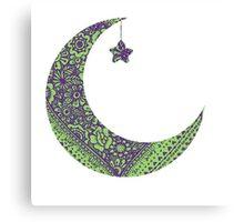 Purple Green Moon Canvas Print