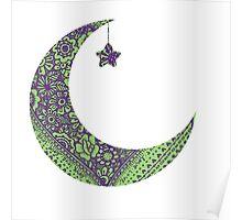 Purple Green Moon Poster