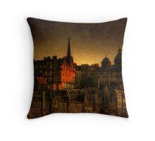 Edinburghs' Old Town at Dusk Throw Pillow