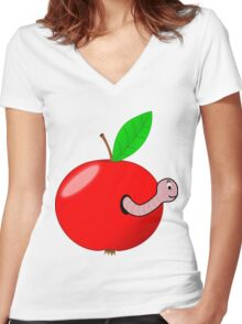 Apple with worm Women's Fitted V-Neck T-Shirt