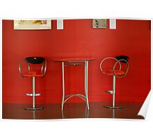 Red Table and Chairs Poster