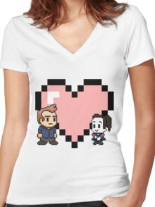 Community - Jeff and Annie 8-bit (style B) Women's Fitted V-Neck T-Shirt