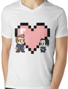 Community - Jeff and Annie 8-bit (style B) Mens V-Neck T-Shirt
