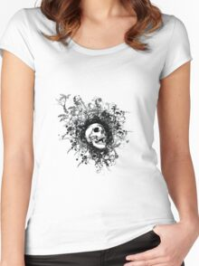 Skull Floral Explosion Women's Fitted Scoop T-Shirt