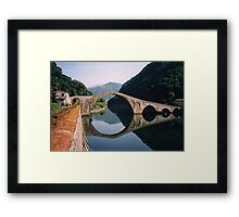 Lucca - Devil's Bridge reflected Framed Print