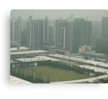 A birds eye view of a soccer pitch Canvas Print