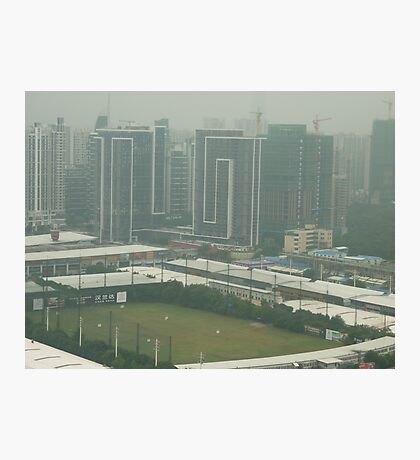 A birds eye view of a soccer pitch Photographic Print