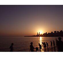 Sunset on Chowpatty Beach, Mumbai Photographic Print