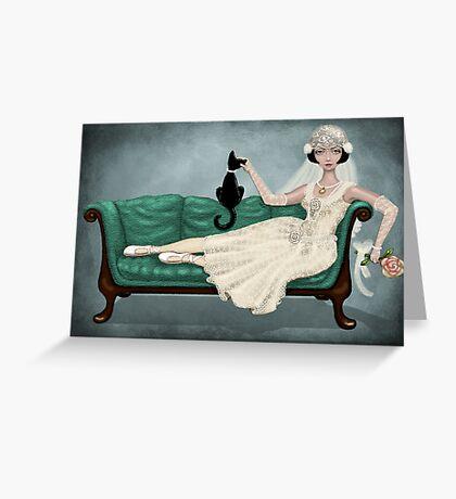 vintage bride Greeting Card