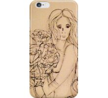 Lady with Roses (Shades of Grey) iPhone Case/Skin
