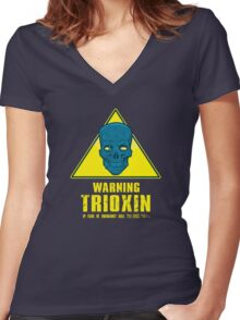 Warning - Trioxin Women's Fitted V-Neck T-Shirt