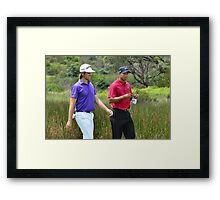 Tiger Wood and Aaron Baddeley  Framed Print
