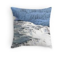 Water and Ice ~ Gullfoss Water Fall Iceland Throw Pillow