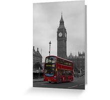 London red bus and Big Ben Greeting Card