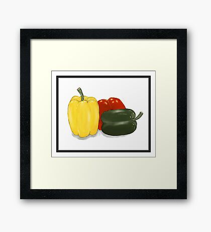 Three Perfect Peppers Watercolor Sketch Framed Print