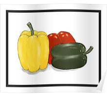 Three Perfect Peppers Watercolor Sketch Poster