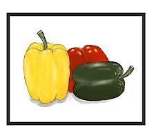 Three Perfect Peppers Watercolor Sketch Photographic Print