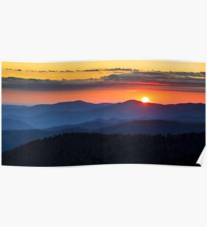 Sunset from Clingman's Dome - Great Smoky Mountains Poster