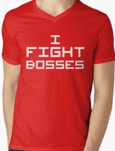 I Fight Bosses (Reversed Colours) Mens V-Neck T-Shirt