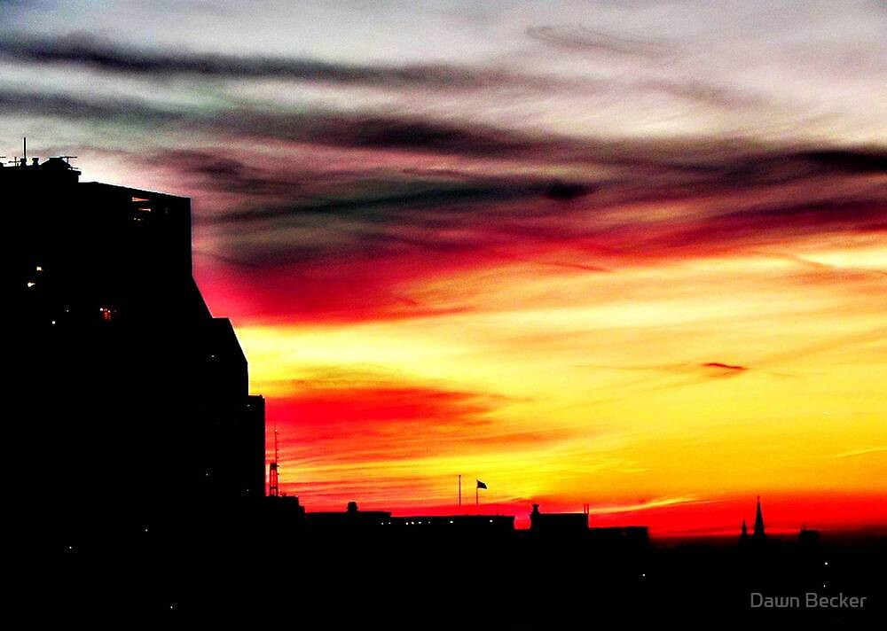 Setting sun over Milwaukee © by Dawn M. Becker