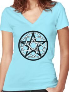 Celtic Knot Pentacle Women's Fitted V-Neck T-Shirt