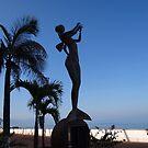 Mermaid playing flute - Sirena tocando flauta, Puerto Vallarta, Mexico by PtoVallartaMex