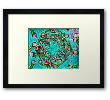 whirlpool fury of eyeball creatures with squid sort of body Teal version Framed Print